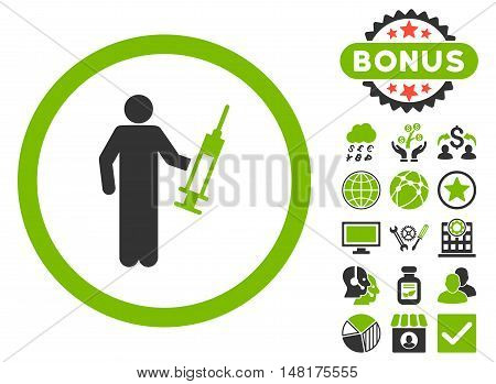 Drug Dealer icon with bonus design elements. Vector illustration style is flat iconic bicolor symbols, eco green and gray colors, white background.