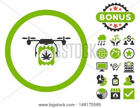 Drugs Drone Delivery icon with bonus pictogram. Vector illustration style is flat iconic bicolor symbols, eco green and gray colors, white background.