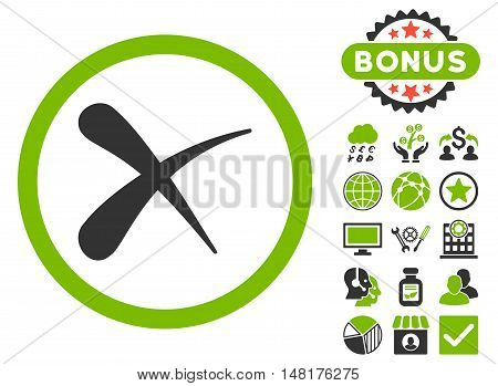 Erase icon with bonus design elements. Vector illustration style is flat iconic bicolor symbols, eco green and gray colors, white background.