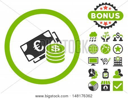 Euro and Dollar Cash icon with bonus elements. Vector illustration style is flat iconic bicolor symbols, eco green and gray colors, white background.