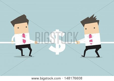 Businessmen playing tug of war with dollar sign. vector
