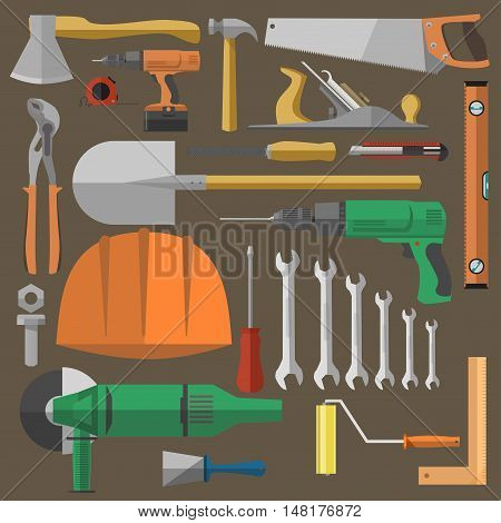 Set of tools for building, repair and construction equipment. Flat icons: hammer, pliers, wrench, screwdriver, drill, saw. Vector illustration isolated