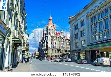 ST PETERSBURG RUSSIA - APRIL 25 2015: The corner tower of the House of City Offices located in Voznesensky Prospekt on April 25 in St Petersburg.