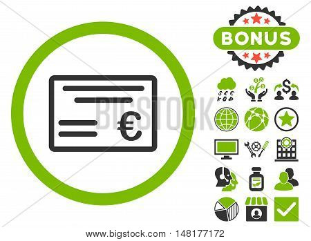 Euro Cheque icon with bonus elements. Vector illustration style is flat iconic bicolor symbols, eco green and gray colors, white background.