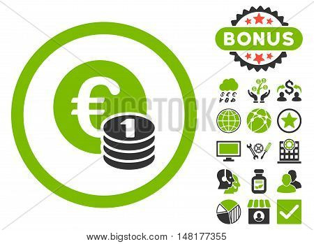 Euro Coins icon with bonus design elements. Vector illustration style is flat iconic bicolor symbols, eco green and gray colors, white background.