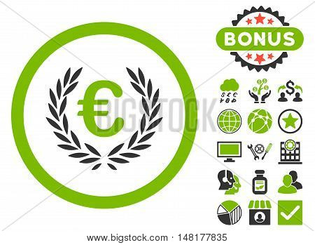 Euro Glory icon with bonus pictures. Vector illustration style is flat iconic bicolor symbols, eco green and gray colors, white background.
