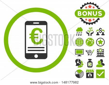 Euro Mobile Bank Account icon with bonus images. Vector illustration style is flat iconic bicolor symbols, eco green and gray colors, white background.
