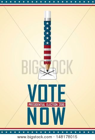 Vote Now. 2016 Usa Presidential Election Campaign.