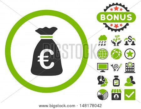 Euro Money Bag icon with bonus images. Vector illustration style is flat iconic bicolor symbols, eco green and gray colors, white background.