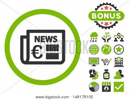 Euro Newspaper icon with bonus pictogram. Vector illustration style is flat iconic bicolor symbols, eco green and gray colors, white background.