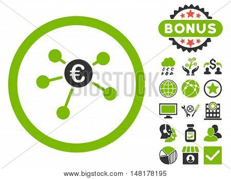 Euro Payments icon with bonus symbols. Vector illustration style is flat iconic bicolor symbols, eco green and gray colors, white background.
