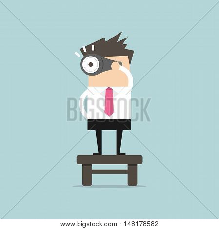 Businessman with binoculars, vision concept. vector illustration