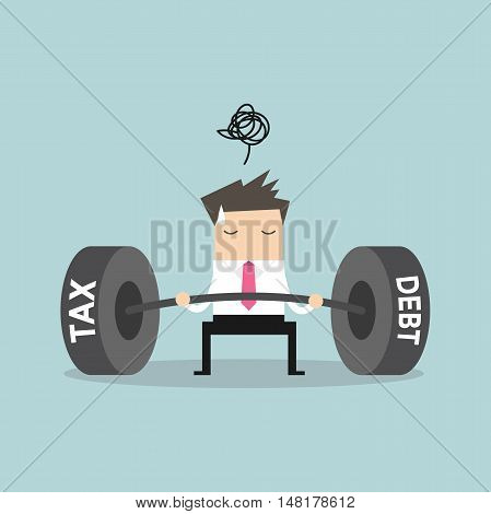 Businessman confuse with heavy tax & debt. vector