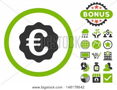 Euro Reward Seal icon with bonus elements. Vector illustration style is flat iconic bicolor symbols, eco green and gray colors, white background.