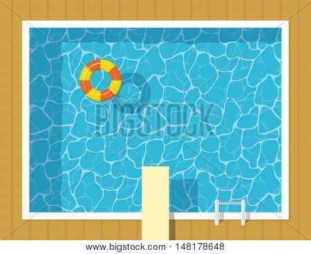 Swimming pool top view with inflatable ring and springboard jump. Blue water leisure relaxation holiday travel. Resort swimming vector pool luxury lifestyle tropical outdoor.
