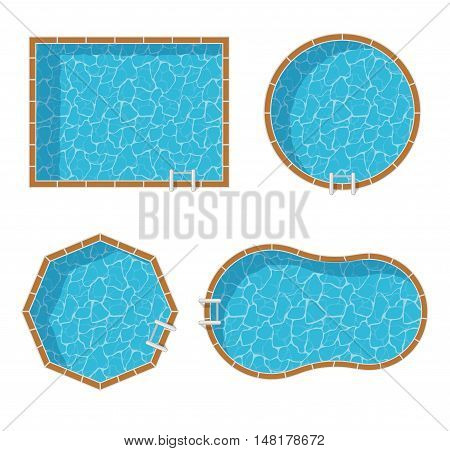 Swimming pools top view set isolated on white background. Blue water leisure relaxation holiday travel. Resort swimming vector pool icon luxury lifestyle tropical outdoor.