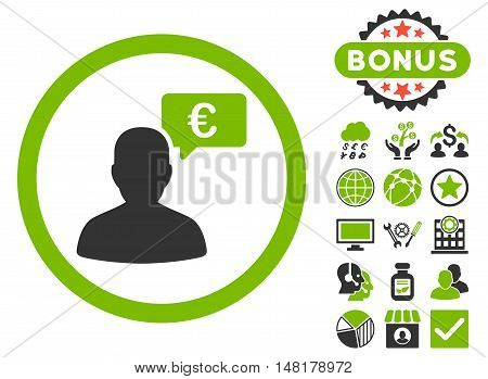 European Person Opinion icon with bonus pictures. Vector illustration style is flat iconic bicolor symbols, eco green and gray colors, white background.