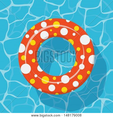 Top view Swim ring icon on the blue water background.