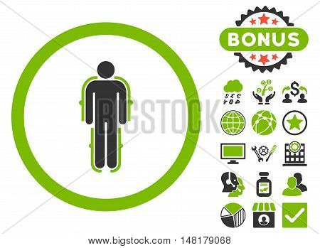 Exoskeleton icon with bonus images. Vector illustration style is flat iconic bicolor symbols, eco green and gray colors, white background.