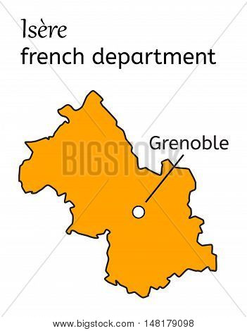 Isere french department map on white in vector