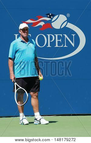 NEW YORK - AUGUST 28, 2016: Tennis coach Grand Slam Champion Ivan Lendl supervises  Grand Slam Champion Andy Murray during practice for US Open 2016 at Billie Jean King National Tennis Center