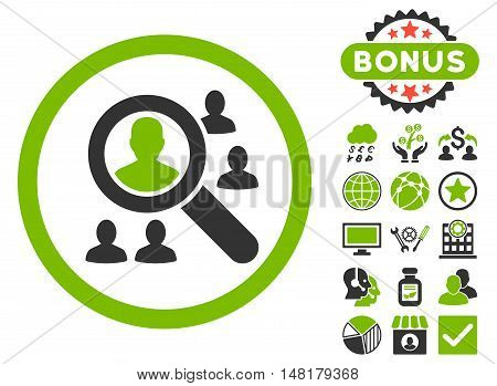 Explore Patients icon with bonus images. Vector illustration style is flat iconic bicolor symbols, eco green and gray colors, white background.