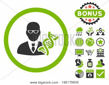 Genetic Engineer icon with bonus pictogram. Vector illustration style is flat iconic bicolor symbols, eco green and gray colors, white background.