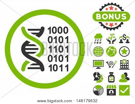 Genetical Code icon with bonus design elements. Vector illustration style is flat iconic bicolor symbols, eco green and gray colors, white background.
