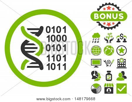 Genome Code icon with bonus pictures. Vector illustration style is flat iconic bicolor symbols, eco green and gray colors, white background.