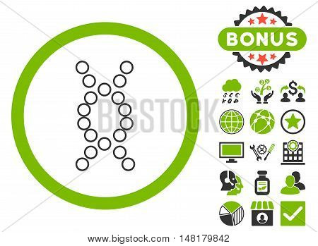 Genome icon with bonus images. Vector illustration style is flat iconic bicolor symbols, eco green and gray colors, white background.