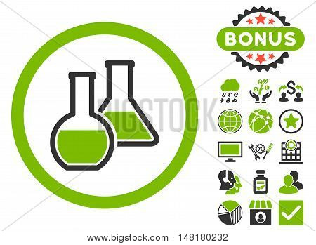 Glass Flasks icon with bonus images. Vector illustration style is flat iconic bicolor symbols, eco green and gray colors, white background.