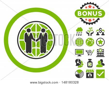 Global Partnership icon with bonus elements. Vector illustration style is flat iconic bicolor symbols, eco green and gray colors, white background.