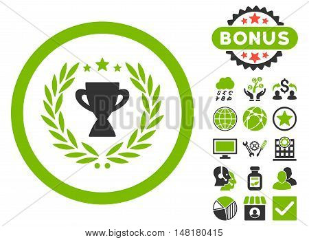 Glory icon with bonus images. Vector illustration style is flat iconic bicolor symbols, eco green and gray colors, white background.