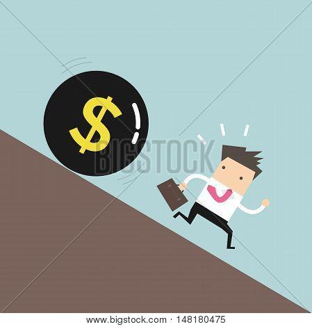 Businessman get away money ball down. vector