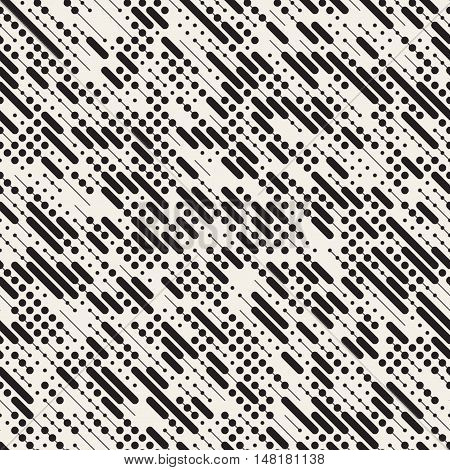 Vector Seamless Black and White Irregular Diagonal Dash Lines Pattern. Abstract Geometric Background Design