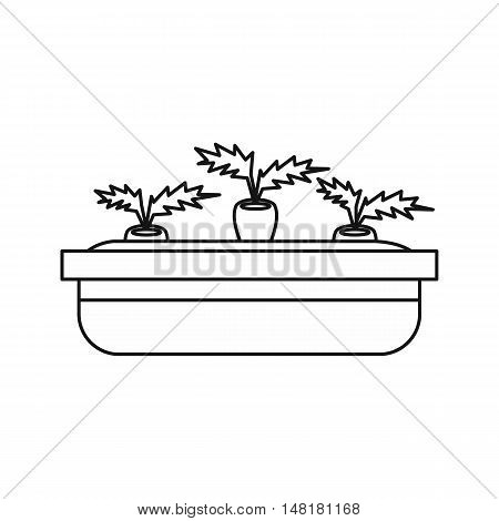 Flowerpot for plants icon in outline style isolated on white background vector illustration