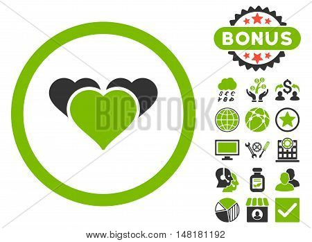 Heart Favourites icon with bonus symbols. Vector illustration style is flat iconic bicolor symbols, eco green and gray colors, white background.