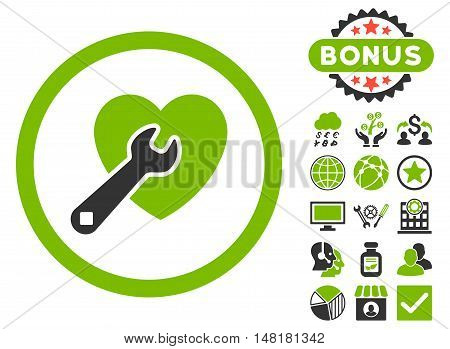 Heart Repair icon with bonus pictogram. Vector illustration style is flat iconic bicolor symbols, eco green and gray colors, white background.
