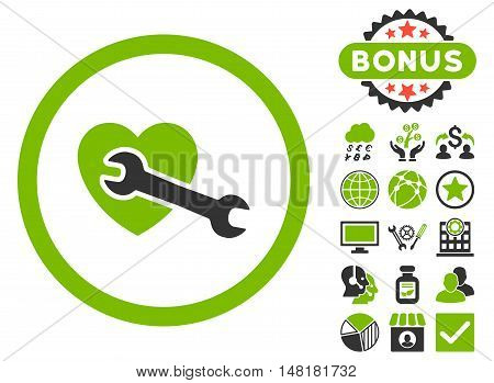 Heart Surgery icon with bonus symbols. Vector illustration style is flat iconic bicolor symbols, eco green and gray colors, white background.