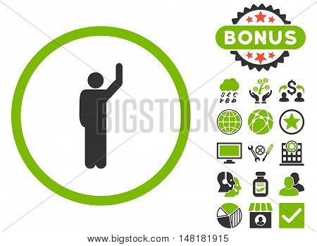 Hitchhike icon with bonus elements. Vector illustration style is flat iconic bicolor symbols, eco green and gray colors, white background.