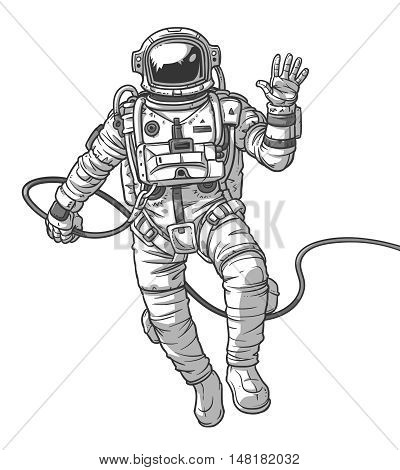 Vector illustration cosmonaut, astronaut on a white background. Print for T-shirts