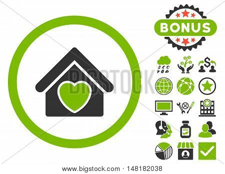Hospice icon with bonus pictures. Vector illustration style is flat iconic bicolor symbols, eco green and gray colors, white background.