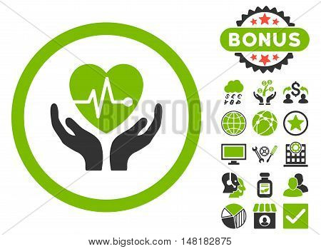 Cardiology icon with bonus symbols. Vector illustration style is flat iconic bicolor symbols, eco green and gray colors, white background.