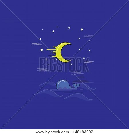 Whale in the sea landscape at the night vector outline