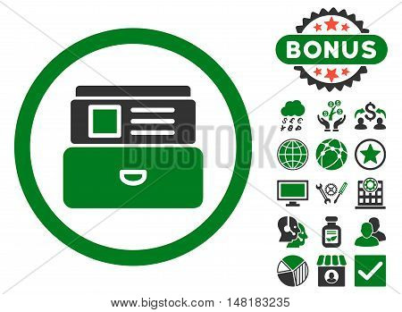 Catalog icon with bonus design elements. Vector illustration style is flat iconic bicolor symbols, green and gray colors, white background.
