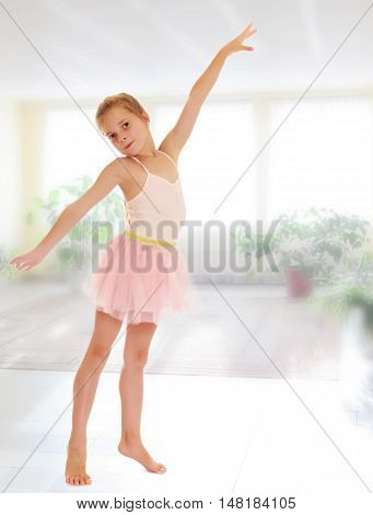 Charming little girl ballerina in a pink translucent dress.On the background of the school hall with large Windows.