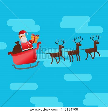 Vector flat style illustration for Christmas holidays. Santa in his sleigh flying through the sky with gifts