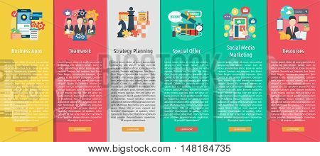 Business Design Vertical Banner Concept | Set of great vertical banner flat design illustration concepts for business, marketing, working, idea, event and much more.
