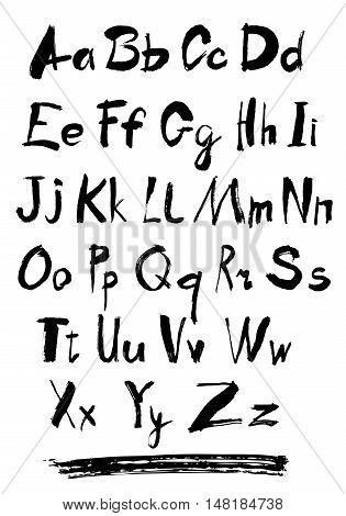 Alphabet letters lowercase. Vector alphabet. Hand drawn letters. Letters of the alphabet written with a paint brush.