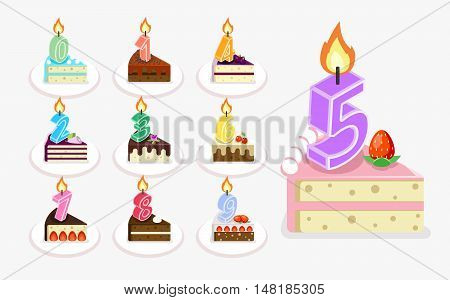 Vector first birthday cake with candle. Isometric flat piece of cake set with numbers illustration